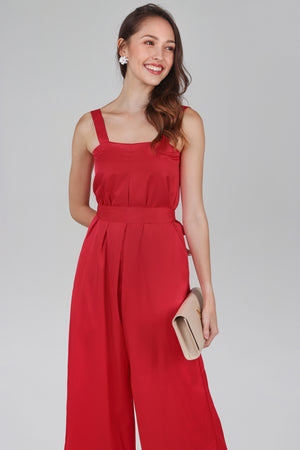 Mila Box Pleat Jumpsuit in Red