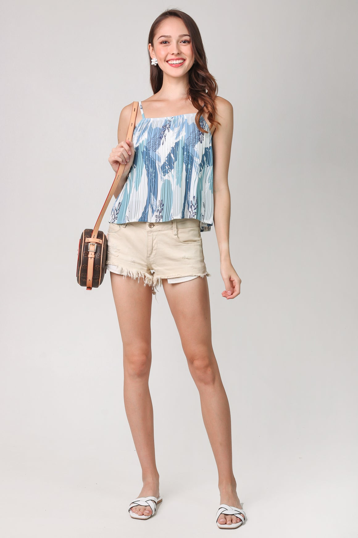 Lucia Abstract Pleated Top in Blue