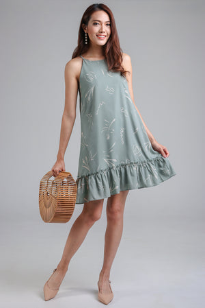 Brush Strokes Cut-In Dress in Sage Green