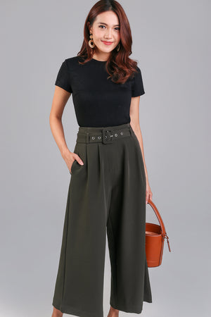 Ellie Buckle Culottes in Olive