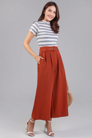 Ellie Buckle Culottes in Camel