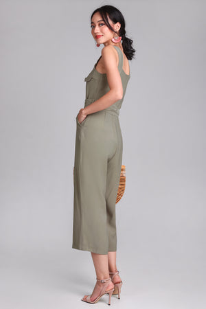 Doubly Blessed Pocket Jumpsuit in Olive
