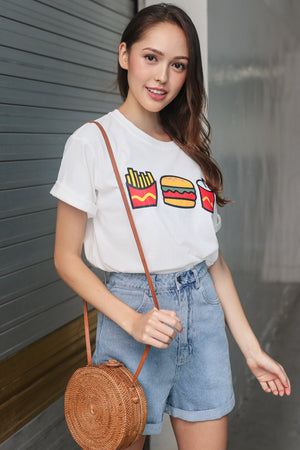 Burger & Fries Tee in White