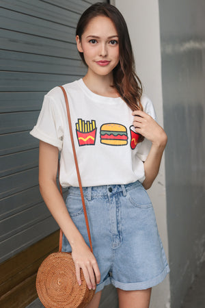 Backorder* Burger & Fries Tee in White