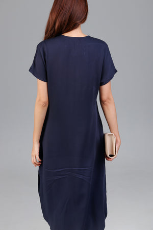 Constance Midi Shirt Dress in Navy