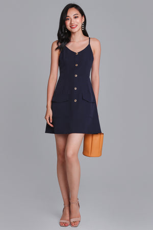 Crowd Pleaser Button Playsuit in Navy