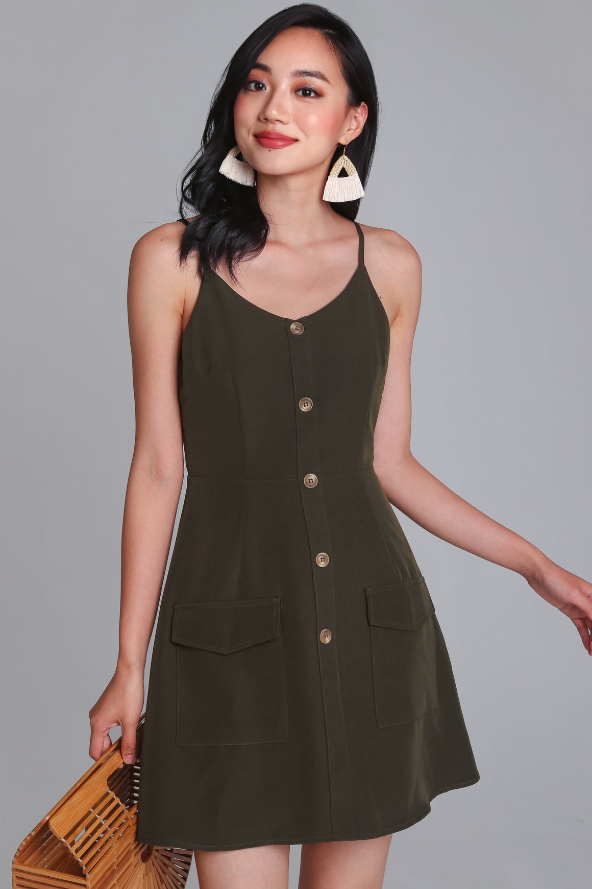 Crowd Pleaser Button Playsuit in Olive