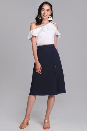 Chrissy Button Side Skirt in Navy