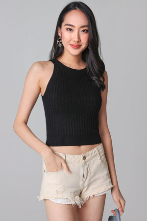 Cable Knit Halter Top in Black