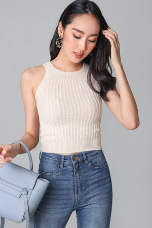 Cable Knit Halter Top in Cream