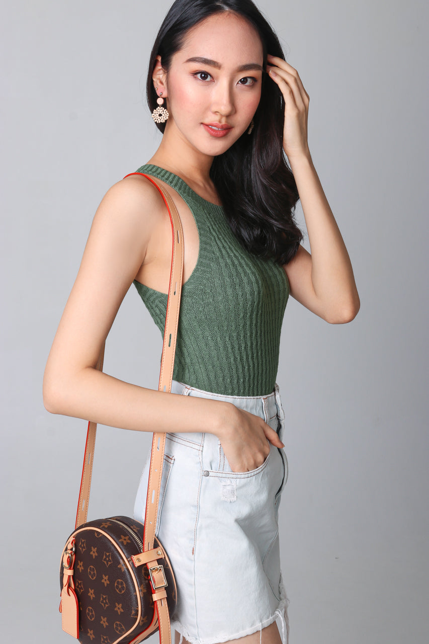 Cable Knit Halter Top in Olive