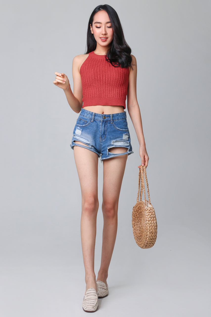 Cable Knit Halter Top in Rust