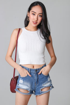 Cable Knit Halter Top in White