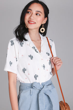 Backorder* Cactus Factor Blouse in White