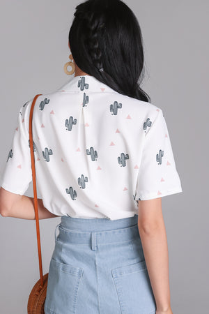 Restocked* Cactus Factor Blouse in White