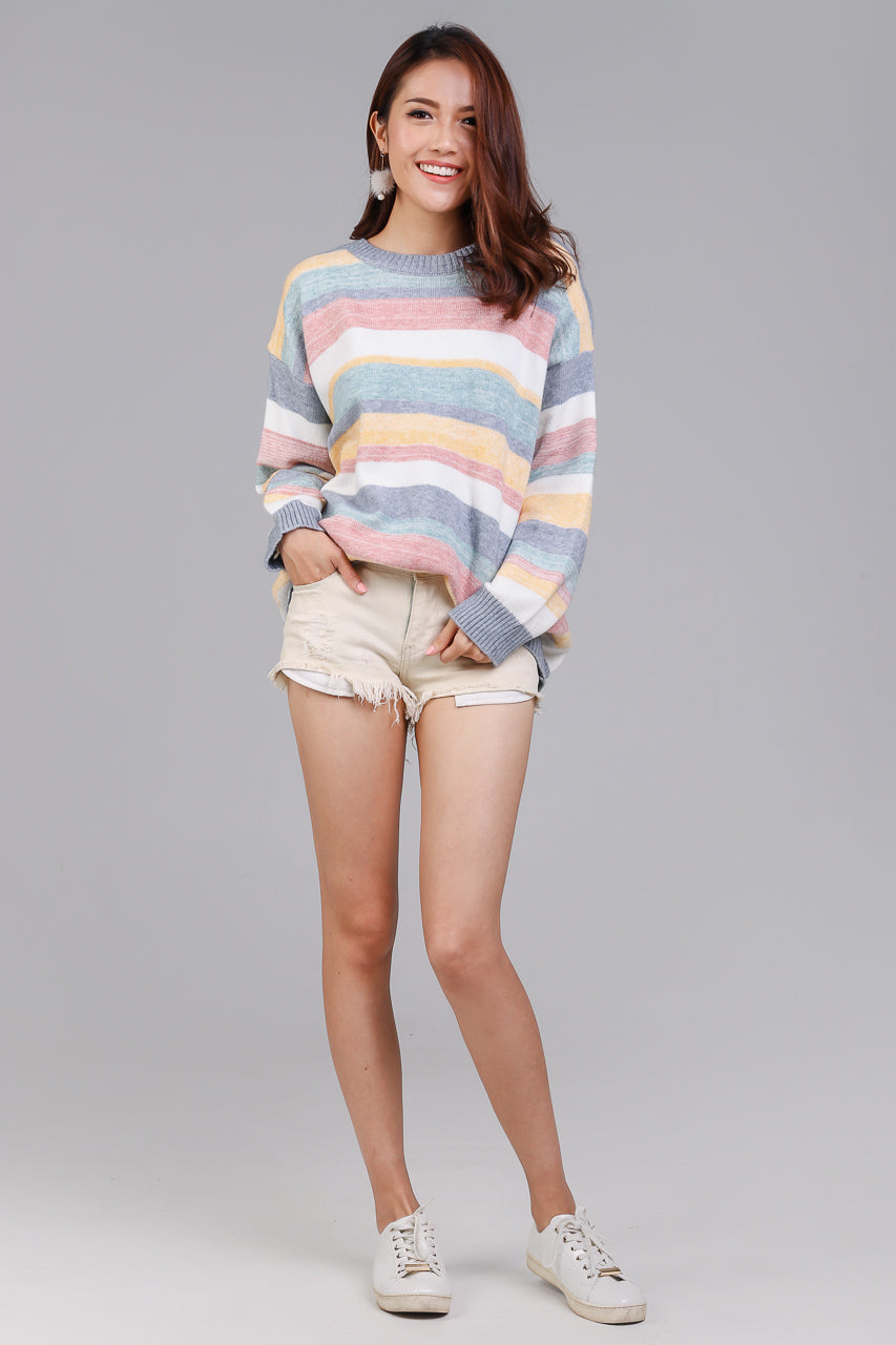 Backorder* Candy Cane Striped Knit Top in Blue
