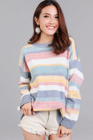 Candy Cane Striped Knit Top in Blue