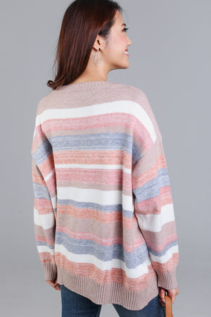 Backorder* Candy Cane Striped Knit Top in Nude