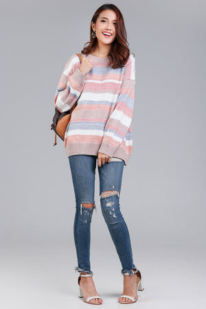 Candy Cane Striped Knit Top in Nude