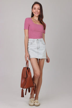 Alma Sleeved Ribbed Top in Rose