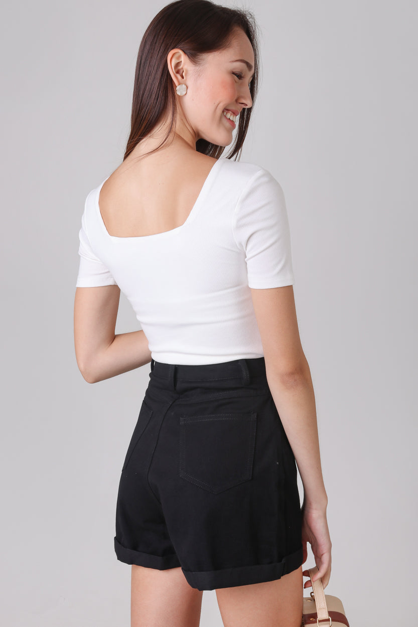 Restocked* Alma Sleeved Ribbed Top in White