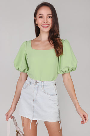Backorder* Center Stage Pouf Sleeve Top in Green