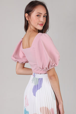 Restocked* Center Stage Pouf Sleeve Top in Pink