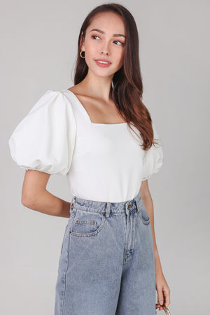 Center Stage Pouf Sleeve Top in White