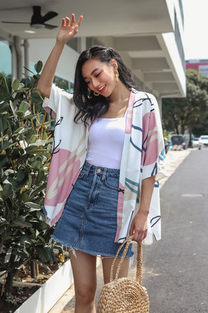 Restocked* Changing Seasons Kimono Jacket in Pink (Reversible)
