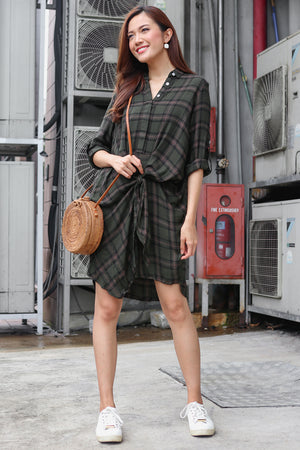 Shelford Checkered Shirt Dress in Olive