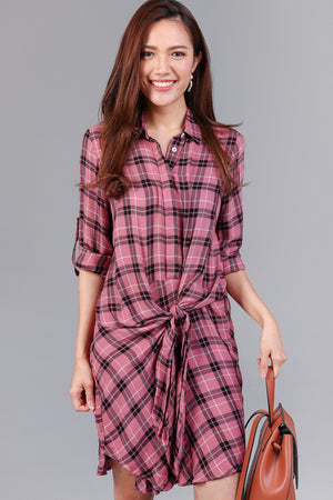 Shelford Checkered Shirt Dress in Pink