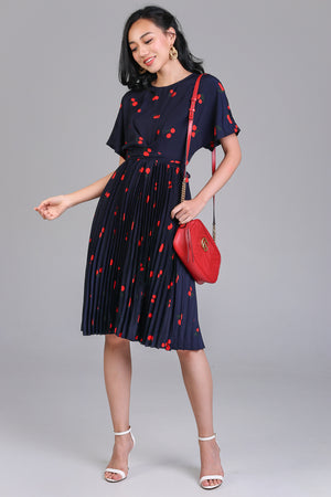Cherries On Top Pleated Dress