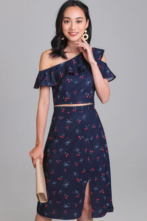 Chrissy Button Side Skirt in Cherry Navy
