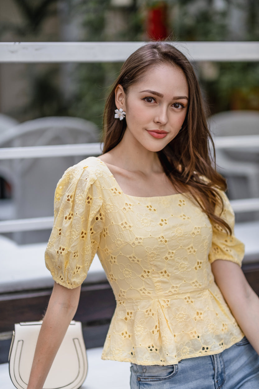 Cherry Blossoms Eyelet Top in Yellow