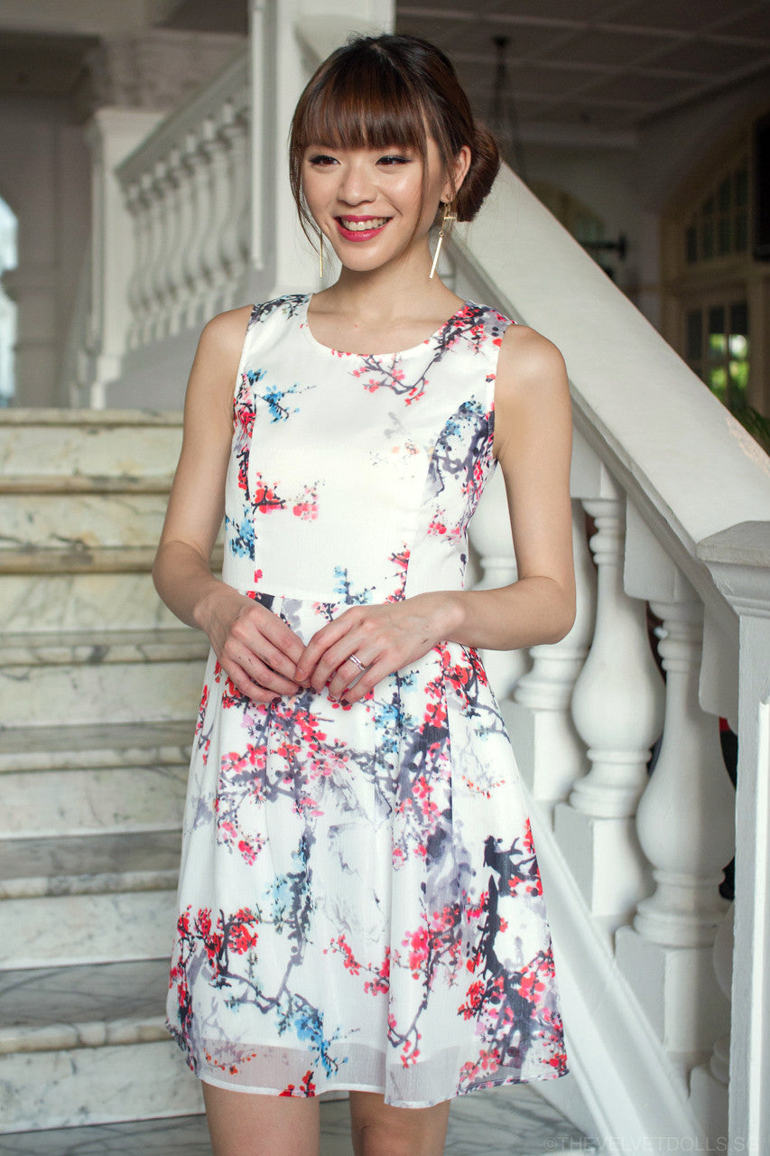 Cherie Cherry Blossoms Flare Dress
