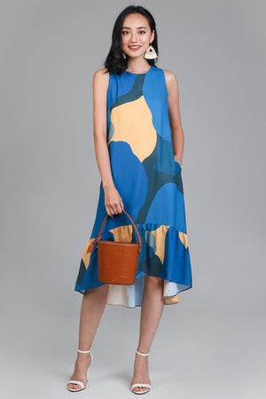 Color Chemistry Drophem Dress in Blue/Yellow