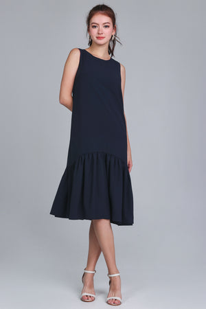Georgia Drophem Dress in Brick/Navy (Reversible)