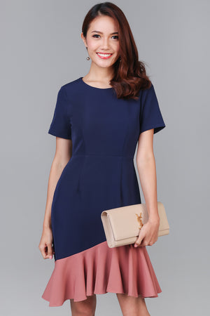 Adella Colorblock Mermaid Dress in Navy