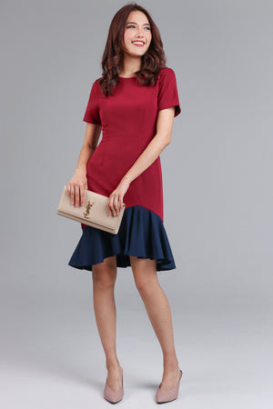 Adella Colorblock Mermaid Dress in Wine