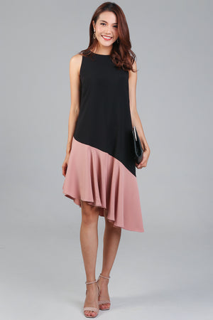 Parallax Slant Hem Dress in Black