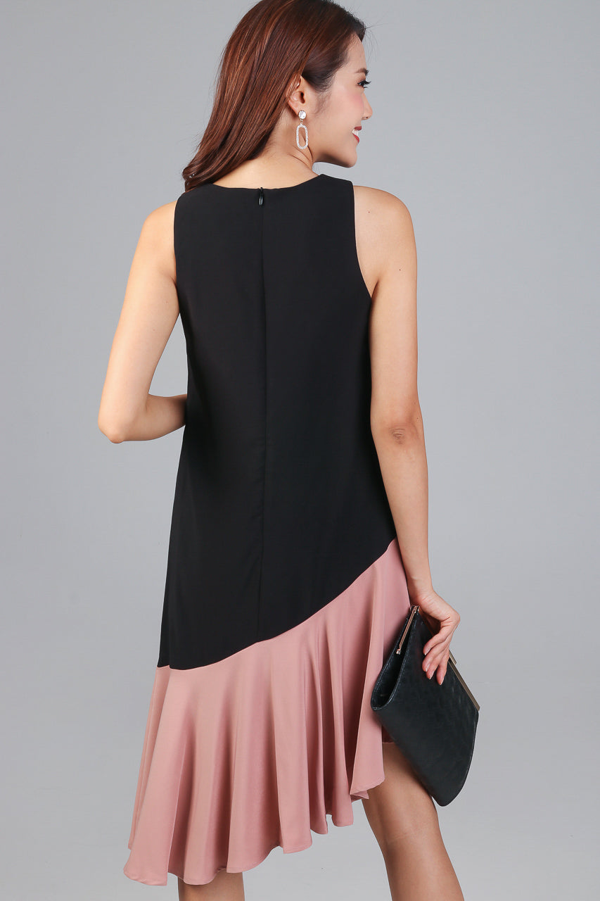 Restocked* Parallax Slant Hem Dress in Black