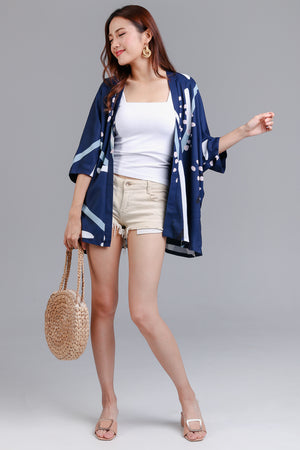 Restocked* Jubilee Graphic Kimono Jacket in Navy