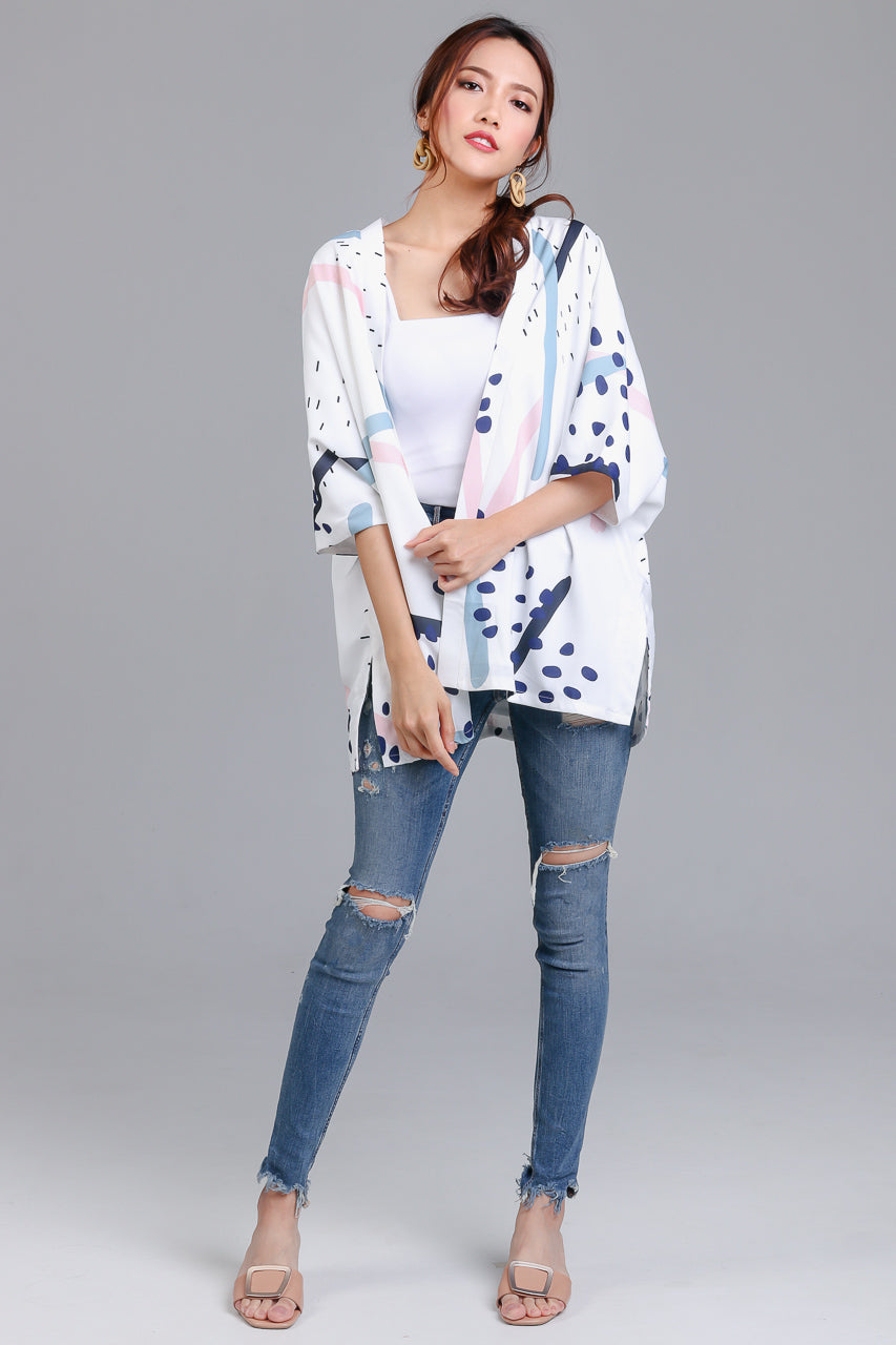 Backorder* Jubilee Graphic Kimono Jacket in White