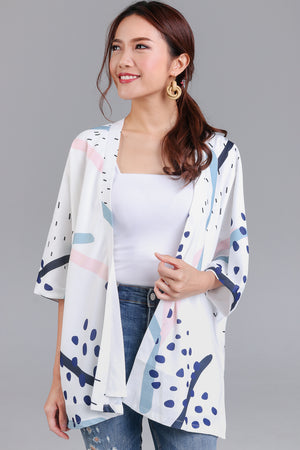 Jubilee Graphic Kimono Jacket in White