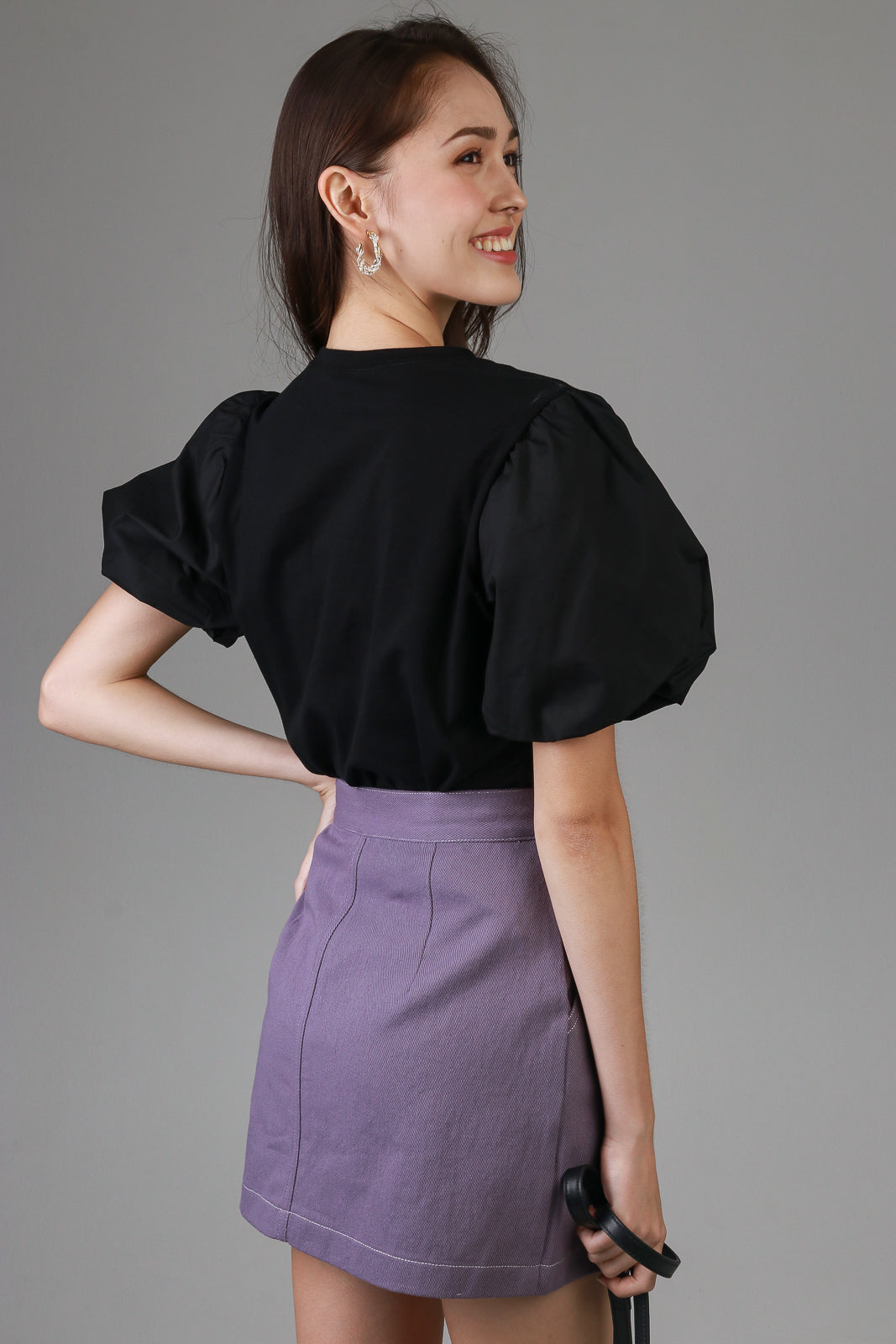 Contrast Stitch Skirt in Purple