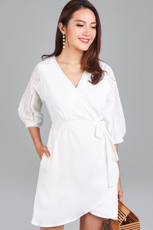April Crochet Wrap Dress in White