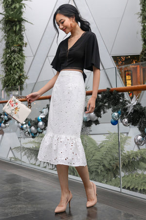 Extravaganza Crochet Skirt in White
