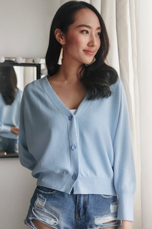 Sweet Dreams Cropped Cardigan in Baby Blue