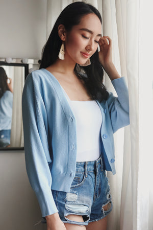 Backorder* Sweet Dreams Cropped Cardigan in Baby Blue
