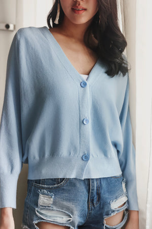 Restocked* Sweet Dreams Cropped Cardigan in Blue